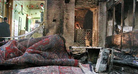 خسارت 10 میلیارد ریالی آتش به یک فرش فروشی در جوانرود