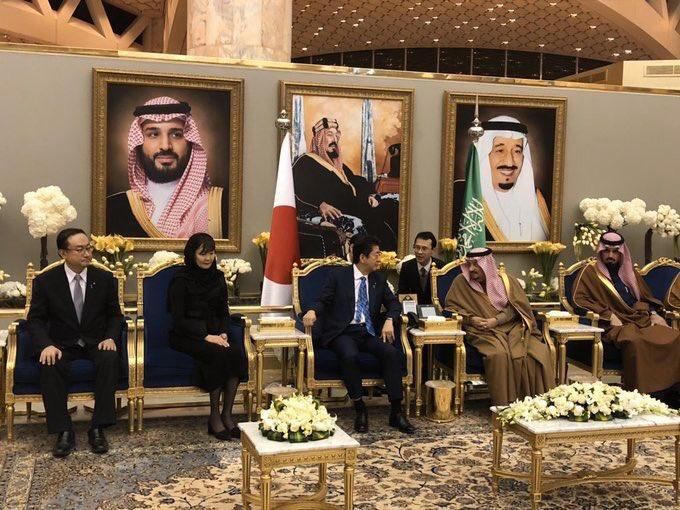 پادشاه عربستان سعودی و نخست وزیر ژاپن در ریاض و فرش نائین